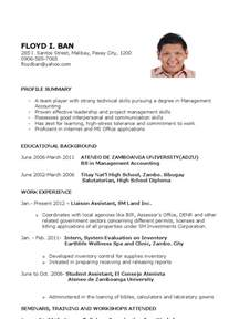 Resume Sample Format In The Philippines by Sample Resume For Fresh Graduates Further Education