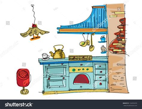 kitchen cartoon vintage kitchen cartoon stock vector 134393255 shutterstock