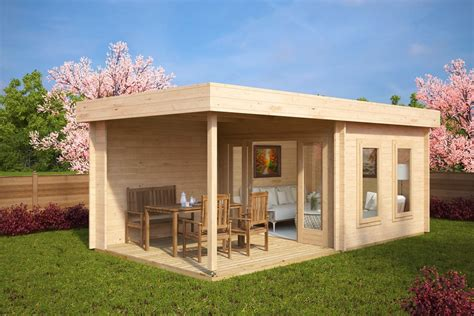 contemporary garden log cabin with veranda lucas e 9m 178