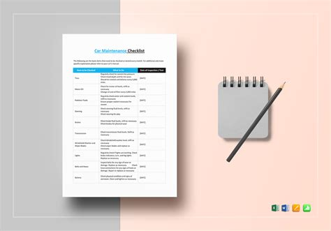 checklist template for apple pages car maintenance checklist template in word excel apple