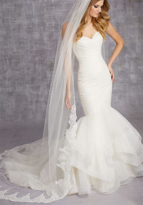 Wedding Dresses And Veils by Scalloped Lace Veil Beaded With Clear Sequins Style