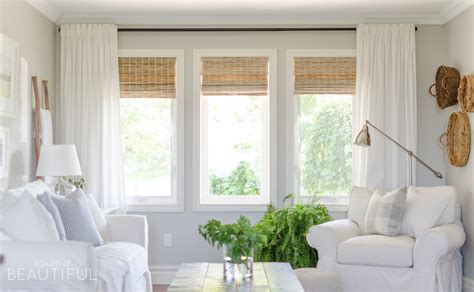 woven wood shades in our living room farmhouse living rooms modern farmhouse and living rooms