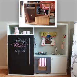 diy play kitchen made out of an entertainment center