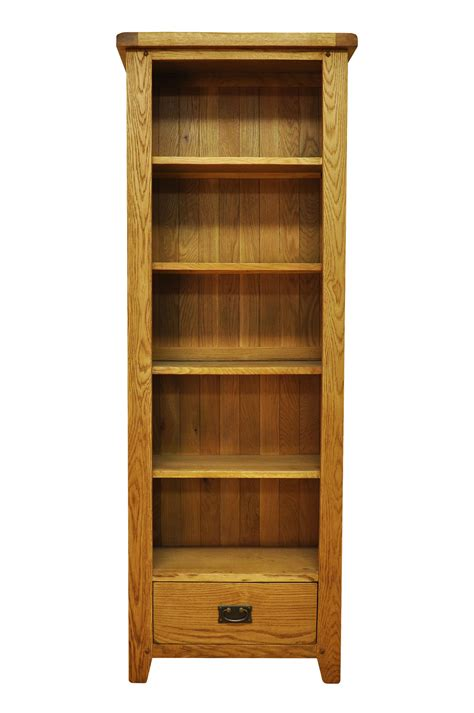 Narrow Wooden Bookcase Stanton Rustic Oak Stanton Large Narrow Rustic Oak Bookcase With Drawerstanton Large Narrow