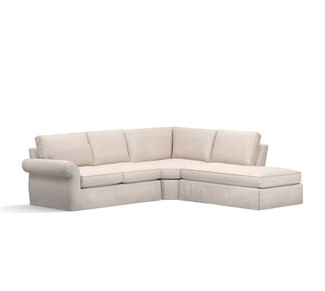 pearce sectional pearce slipcovered 3 piece bumper sectional pottery barn