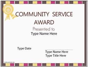 education certificates community service award