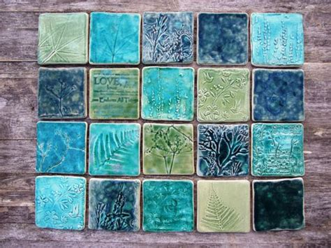 Handmade Clay Tiles - handmade ceramic tile splash back green turquoise teal