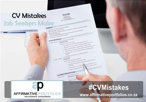 cv mistakes seekers make