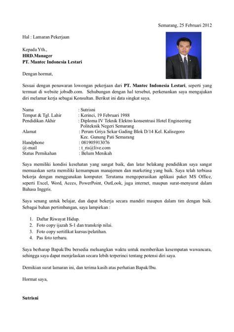 Contoh Tulisan Di Lop Surat Lamar Kerja by Contoh Surat Lamaran Kerja Daftar Riwayat Hidup Cv 2017 18