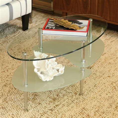 Amazon Com Walker Edison Glass Oval Coffee Table Kitchen One Glass Coffee Table
