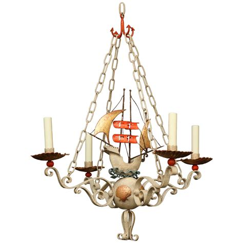 Ship Chandelier Polychrome Iron Ship Chandelier At 1stdibs