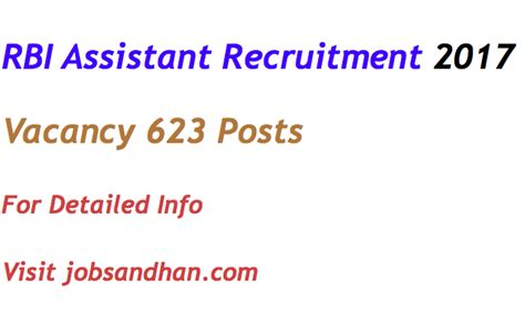 Rbi Recruitment For Mba 2017 by Rbi Assistant Recruitment 2017 Notification Vacancy 623 Posts