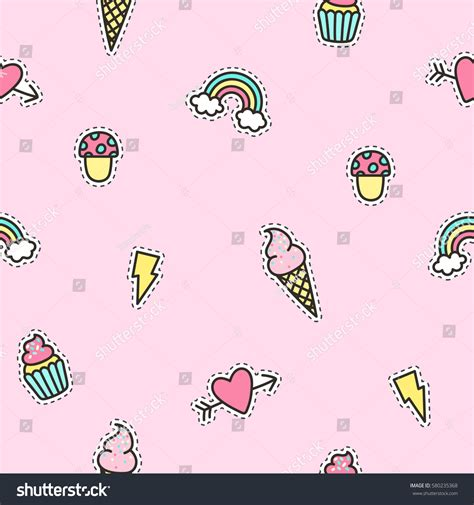 object pattern background cute objects pattern pink background vector stock vector