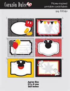 instant download mickey inspired printable cards tags book
