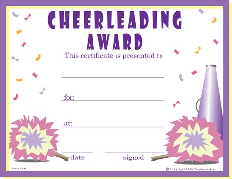 cheerleading certificate templates free award certificates