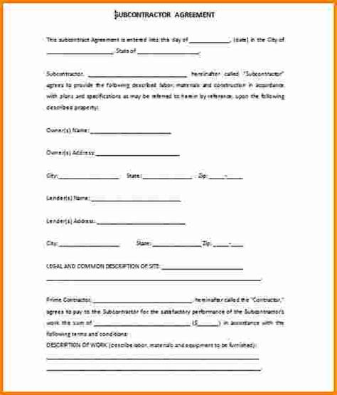 10 subcontractor agreement template cashier resume