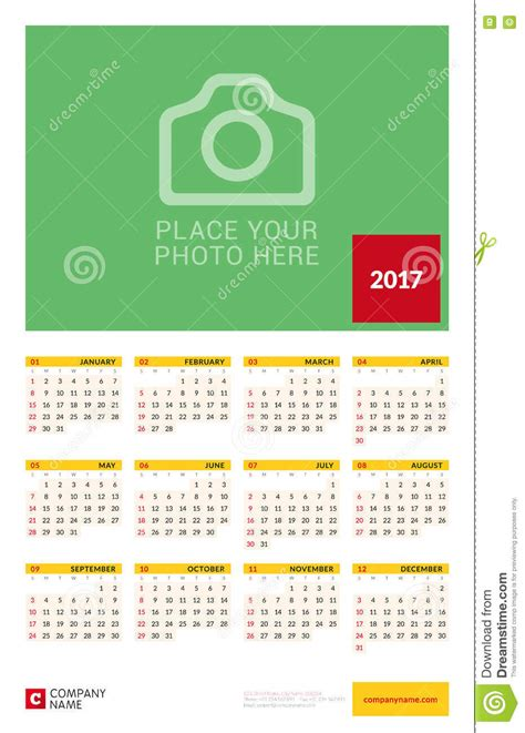 wall yearly calendar poster for 2017 year vector design