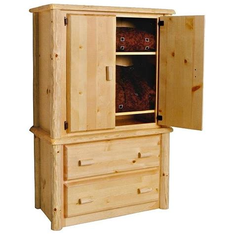 2 Drawer Armoire by Pine Log Collection Two Drawer Armoire Log028