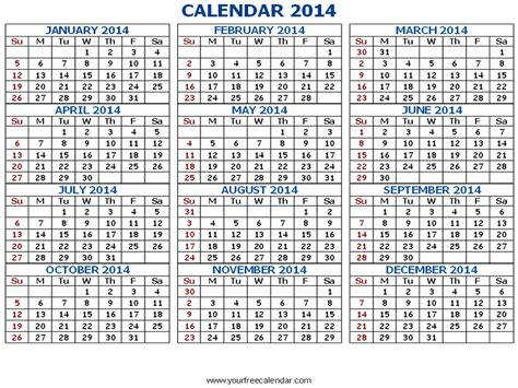 7 best images of 2014 printable calendar all months