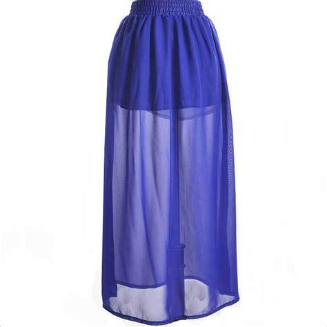 11 color skirts high waist pleated maxi skirt summer style chiffon royal