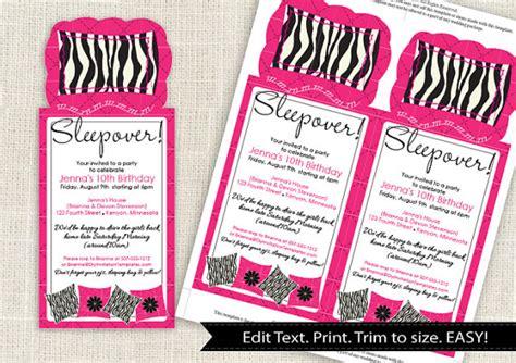 sleepover invitation templates free zebra sleepover invitation template