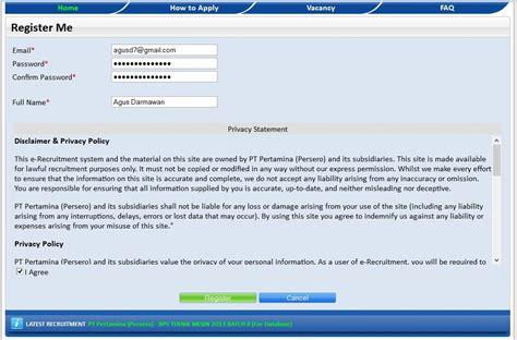 email resmi pertamina langkah langkah mendaftar pekerjaan lewat internet