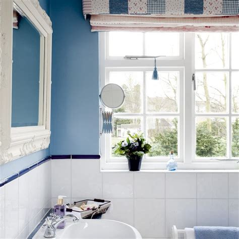 blue bathroom with white fittings bathroom designs