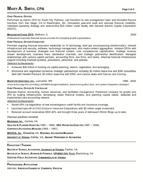 finance resume template resume sle 18 cfo finance executive resume career