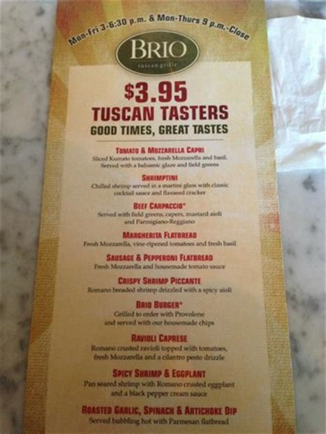 happy hour at brio happy hour menu foto di brio tuscan grille las vegas