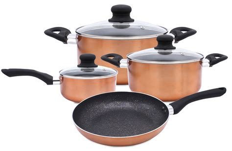 pots and pans 7 pc cookware set marble coating induction cooking