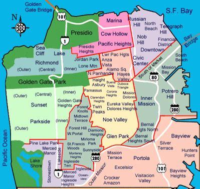 san francisco neighborhoods map with streets san francisco and beyond neighborhoods
