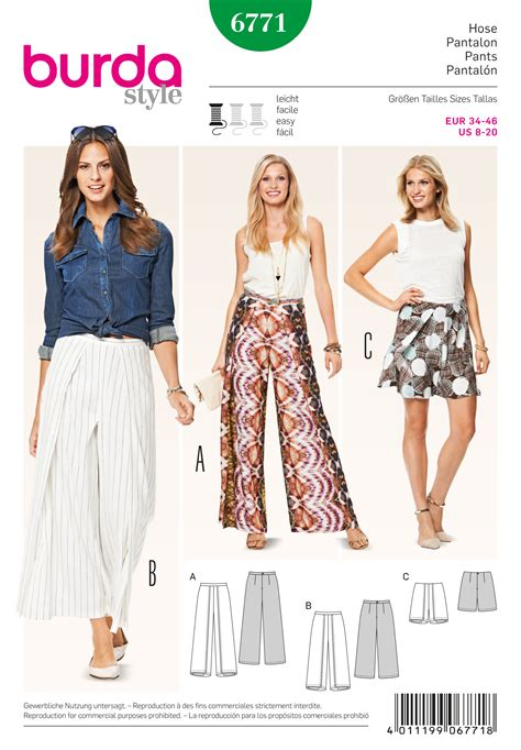 pattern sewing burda burda 6771 burda style pants jumpsuits sewing pattern