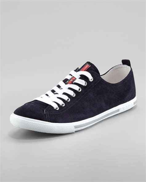 10 Prada Shoes by Lyst Prada Suede Laceup Sneaker Navy In Blue For