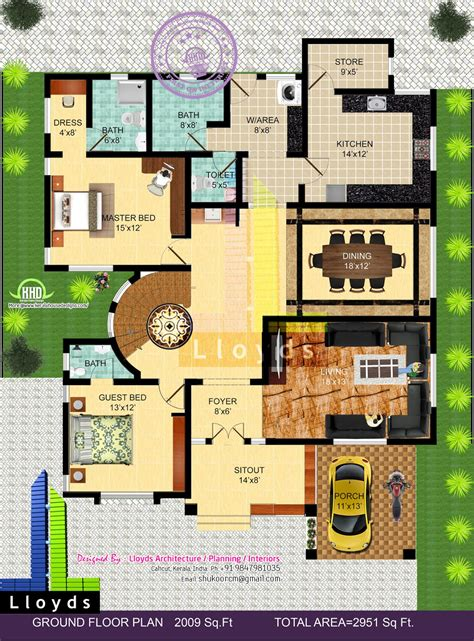 3 l floor l 2951 sq ft 4 bedroom bungalow floor plan and 3d view