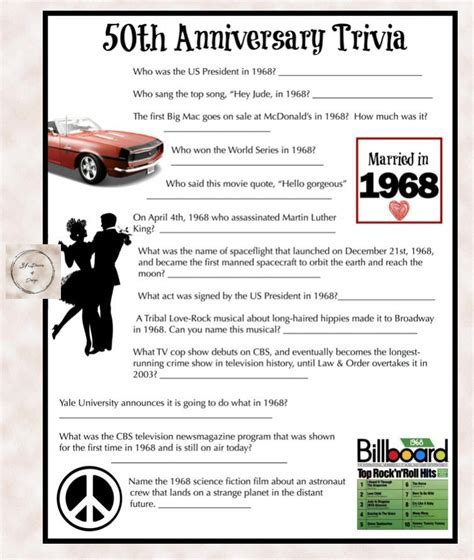 1968 Anniversary Trivia Game   50th Wedding Anniversary