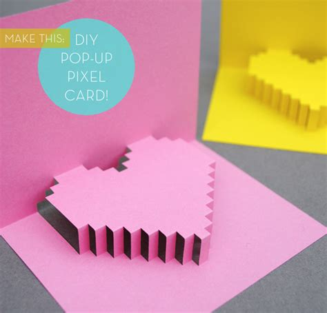 3d pixel card template pretty in pixels make a diy pop up pixel card for