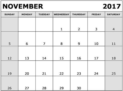 Calendar 2017 November Pdf November 2017 Calendar Pdf