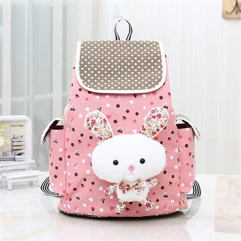 Rabbit Polka Backpack pink bunny rabbit dot canvas backpack on luulla