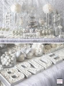 Winter white bridal shower sweets table the all white color trend