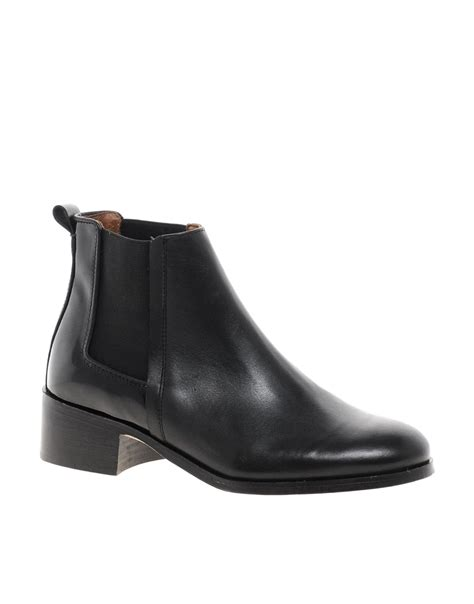asos whistles beaufort black flat chelsea boots in black