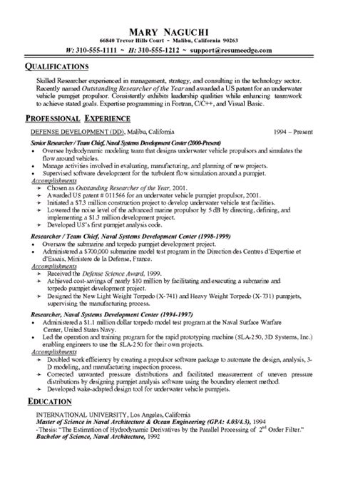 Technical Research Resume Exle Research Cv Template