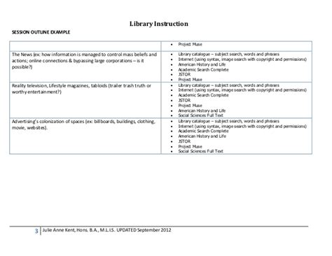 Session Outline Template by Library Session Outline Exle