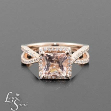 gold princess cut morganite engagement ring in