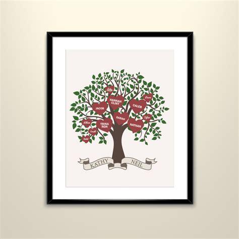 family tree poster 11x14 custom felt paper poster