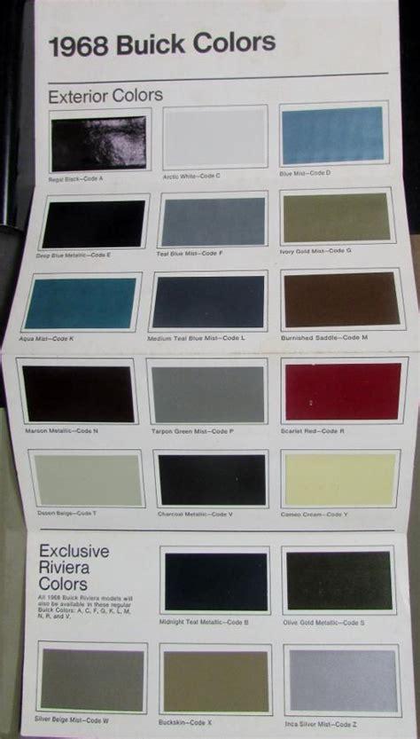 paint colors sles 1968 buick colors sales brochure leaflet paint chips