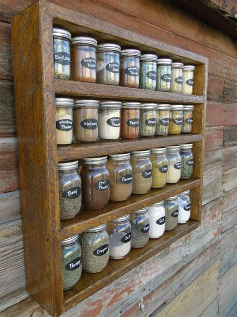 Large Wooden Spice Racks Wall Mounted Rustic Rough Sawn 30 Mason Jar Spice Rack Organization