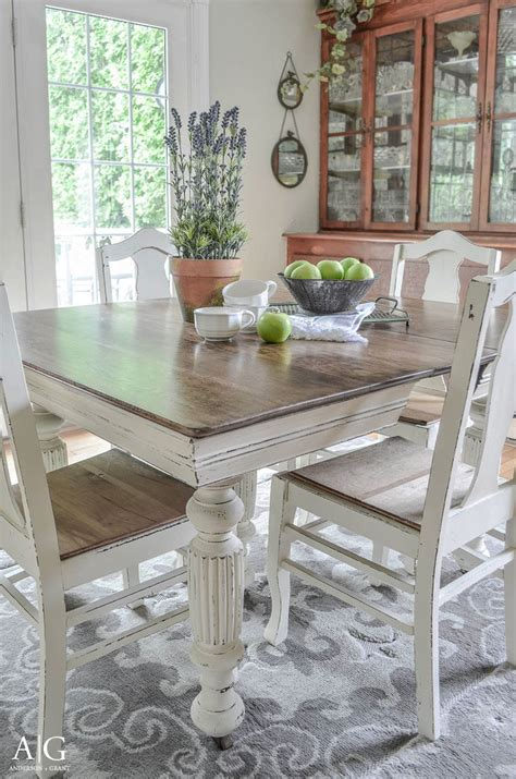 grant antique dining table updated with chalk
