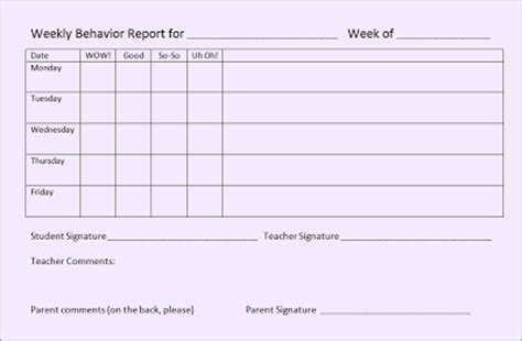 Tonya S Treats For Teachers A Weekly Behavior Form That Works Weekly Behavior Report Template