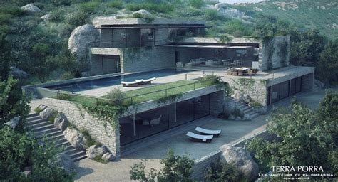 mountain side house corsican mountain view villas visualized