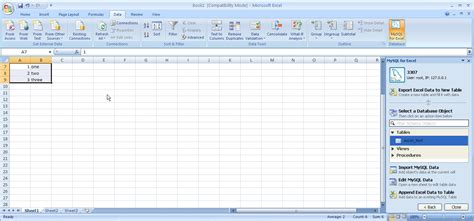 Mysql Create Table Exle by Using Mysql For Excel Todd S Mysql